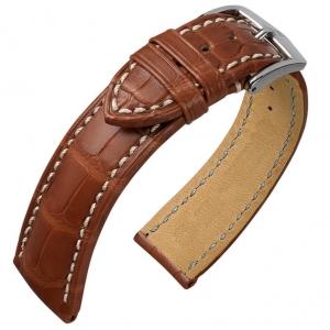 Hirsch Ocean Louisiana Alligator Skin Watch Band Semi-Matte Golden Brown