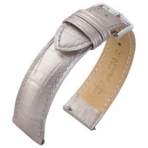 Hirsch Duke Watch Band Alligatorgrain Metallic Silver Limited Edition
