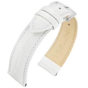 Hirsch Duke Watch Band Alligatorgrain White