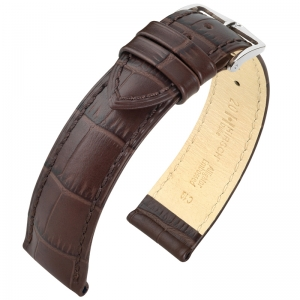 Hirsch Duke Watch Band Alligatorgrain Dark Brown