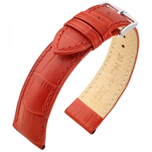 Hirsch Duke Watch Band Alligatorgrain Red