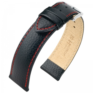Hirsch Kansas Watch Strap Buffalograin Black With Red Stitching