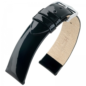 Hirsch Diva Patent Leather Watch Strap Calf Skin Black
