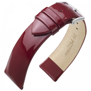 Hirsch Diva Patent Leather Watch Strap Calf Skin Burgundy