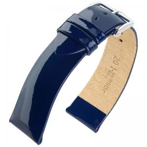 Hirsch Diva Patent Leather Watch Strap Calf Skin Blue
