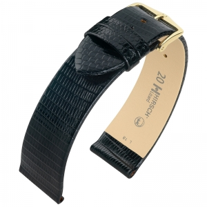 Hirsch Lizard Watch Band Premium Lizardskin Black