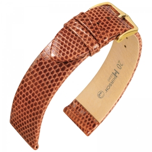 Hirsch Lizard Watch Band Premium Lizardskin Golden Brown