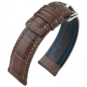 Hirsch Grand Duke Watch Band Alligatorgrain 100m WR Brown