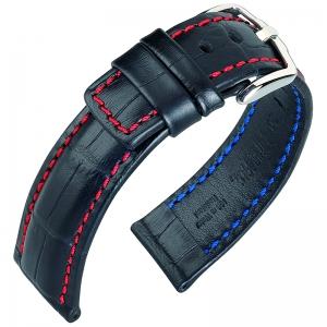 Hirsch Grand Duke Watch Band Alligatorgrain 100m WR Black/Red