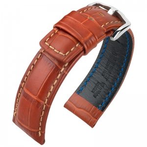 Hirsch Grand Duke Watch Band Alligatorgrain 100m WR Golden Brown