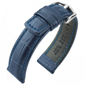 Hirsch Grand Duke Watch Band Alligatorgrain 100m WR Blue