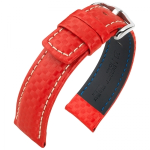Hirsch Carbon Watch Band 100 m Water-Resistant Red