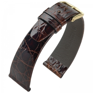Hirsch Prestige Crocodile Skin Watch Band Brown