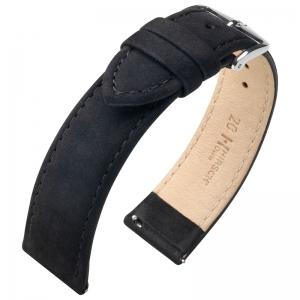 Hirsch Nubuck Osiris Watch Strap Leather Black
