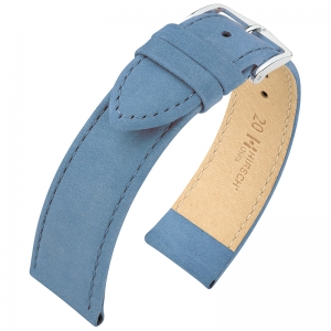 Hirsch Nubuck Watch Strap Leather Blue