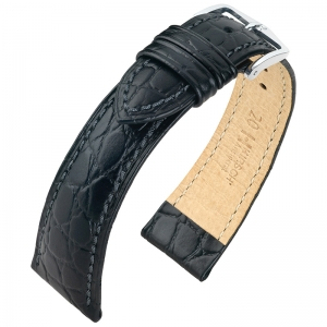 Hirsch Aristocrat Watch Band Crocograin Black