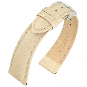 Hirsch Aristocrat Watch Band Crocograin Beige