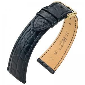 Hirsch Regent Watch Band Premium Alligator Flank Matte Black