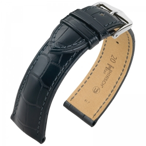 Hirsch Earl Louisiana Alligator Skin Watch Band Semi-Matte Black