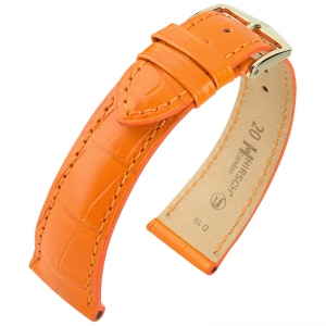 Hirsch London Watch Strap Alligator Skin Matte Orange