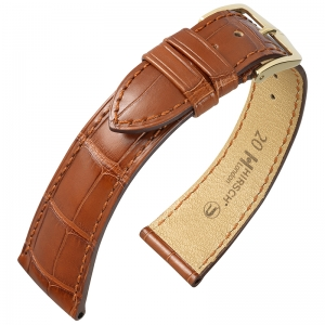 Hirsch London Watch Strap Alligator Skin Matte Golden Brown
