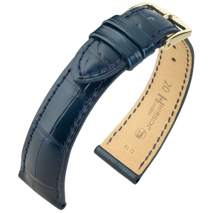 Hirsch London Watch Strap Alligator Skin Matte Blue