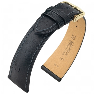 Hirsch Massai Watch Strap Ostrich Skin Black