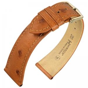Hirsch Massai Watch Strap Ostrich Skin Golden Brown