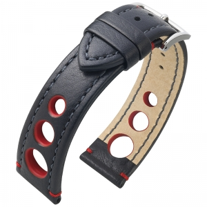 Hirsch Rally Artisan Perforated Watch Band Black / Red