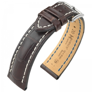 Hirsch Capitano Louisiana Alligator Watch Strap Semi-Matte Brown 100m WR
