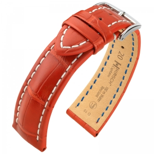 Hirsch Capitano Louisiana Alligator Watch Strap Semi-Matte Red 100m WR