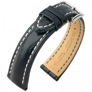 Hirsch Capitano Louisiana Alligator Watch Strap Semi-Matte Black 100m WR
