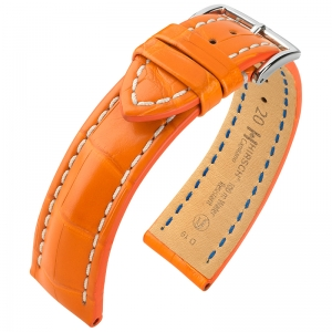Hirsch Capitano Louisiana Alligator Watch Strap Semi-Matte Orange 100m WR