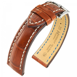Hirsch Capitano Louisiana Alligator Watch Strap Semi-Matte Golden Brown 100m WR