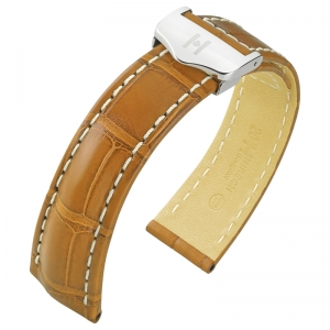 Hirsch Navigator Watch Strap for Breitling Folding Clasp Louisiana Alligator Matte Honey