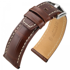 Hirsch Tritone Watch Strap Louisiana Alligator Skin Semi-Matte Brown