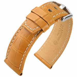 Hirsch Tritone Watch Strap Louisiana Alligator Skin Semi-Matte Honey