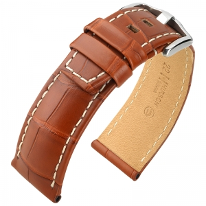 Hirsch Tritone Watch Strap Louisiana Alligator Skin Semi-Matte Golden Brown