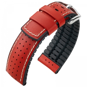 Hirsch Tiger Performance Collection Black/Red Caoutchouc/Leather 300m WR