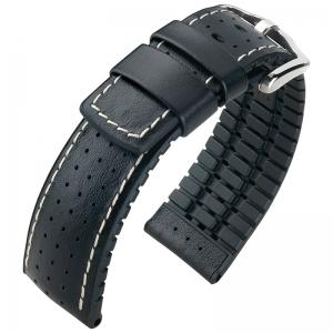 Hirsch Tiger Performance Collection Black Caoutchouc/Leather 300m WR