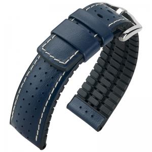 Hirsch Tiger Performance Collection Black/Blue Caoutchouc/Leather 300m WR