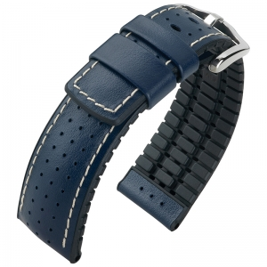 Hirsch Tiger Performance Collection Black/Blue Caoutchouc/Leather 300m WR