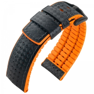 Hirsch Ayrton Performance Collection Black/Orange Leather/Rubber 300m WR
