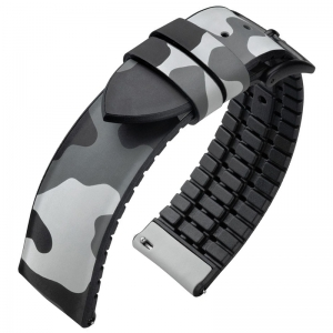 Hirsch John Performance Watch Strap Camouflage Gray Caoutchouc