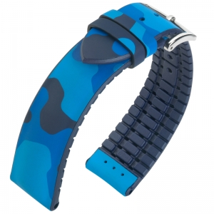 Hirsch John Performance Watch Strap Camouflage Blue Caoutchouc