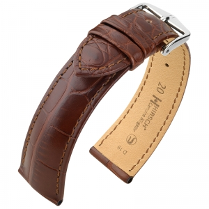 Hirsch Genuine Alligator Louisiana Watch Strap Alligator Skin Mat Brown
