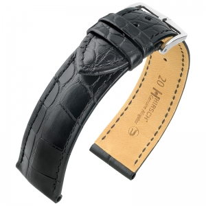 Hirsch Genuine Alligator Louisiana Watch Strap Alligator Skin Mat Black