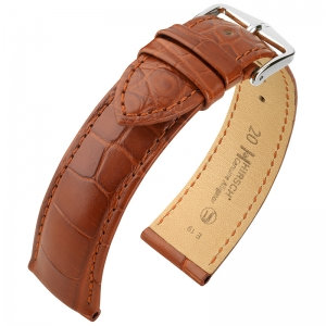 Hirsch Genuine Alligator Louisiana Watch Strap Alligator Skin Mat Golden Brown