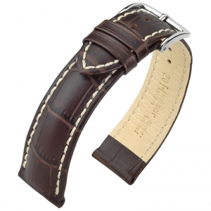 Hirsch Modena Calfskin Watchband Alligatorgrain Brown