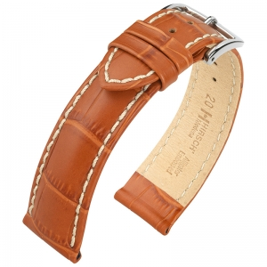 Hirsch Modena Calfskin Watchband Alligatorgrain Honey